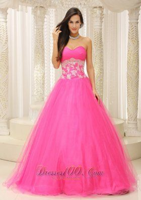 Tulle Applique A-line Prom Dress Sweetheart