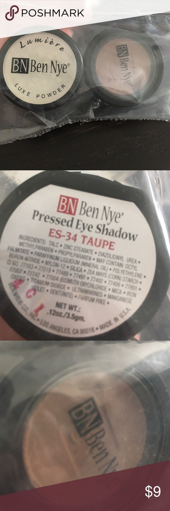 Package of Ben Nye Luxe powder & taupe eyeshadow Two products! Great matte shadow in a compact (but just a refill) & the ultra bright lumiere powder. Ben Nye Makeup Eyeshadow
