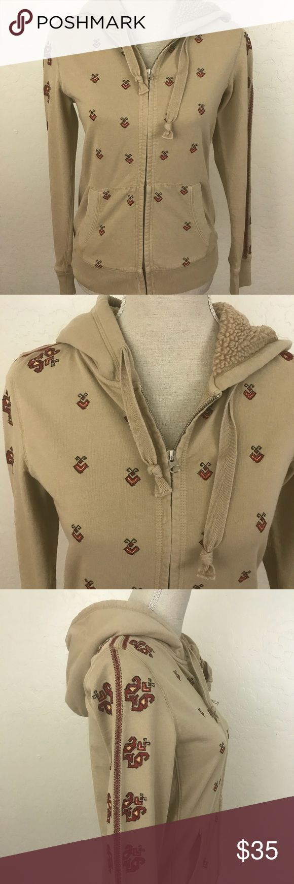 "Lucky Brand Nude Embroidered zip Up Hoodie Sz S Preowned Embroidered zip up hoodie in good condition  Armpit to armpit 17"" Length 24"" Only the hoodie is lined with the furry material Lucky Brand Jackets & Coats"