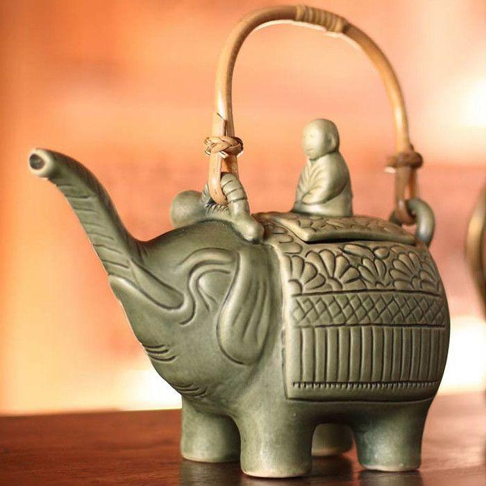 Novica Buddha  Elephant Teapot