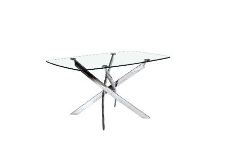 The Victor Dining Table is made of tempered glass top with Chrome polished frame.        Size: 1300x800x750mm  Contact us for pricing