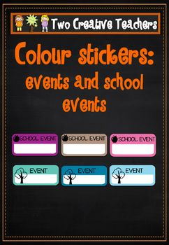 Two Creative Teachers - School Event MarkersThese labels can be printed on sticker labels. Stick them in planners or diaries to help you keep organized. They can also be used for student diaries. Use them to mark important dates or other events. If you would like a custom order please contact us at twocreativeteachers@gmail.com.