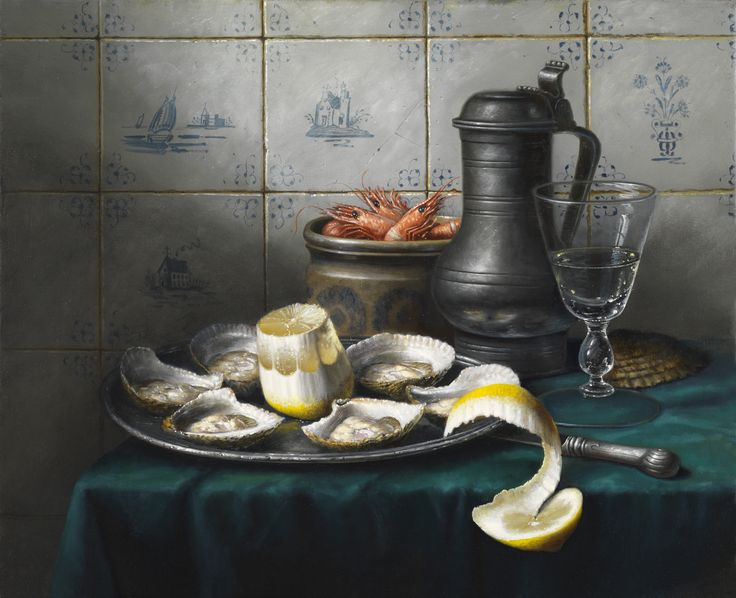 'Still Life with Delft Tiles' Oil on Canvas: 46 x 56 cm by Brian Davies (1942 - 2014)