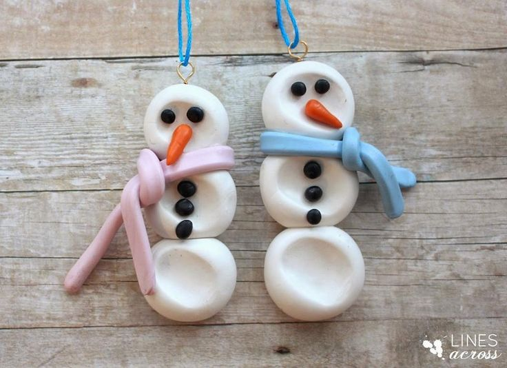 Salt dough thumbprint snowman