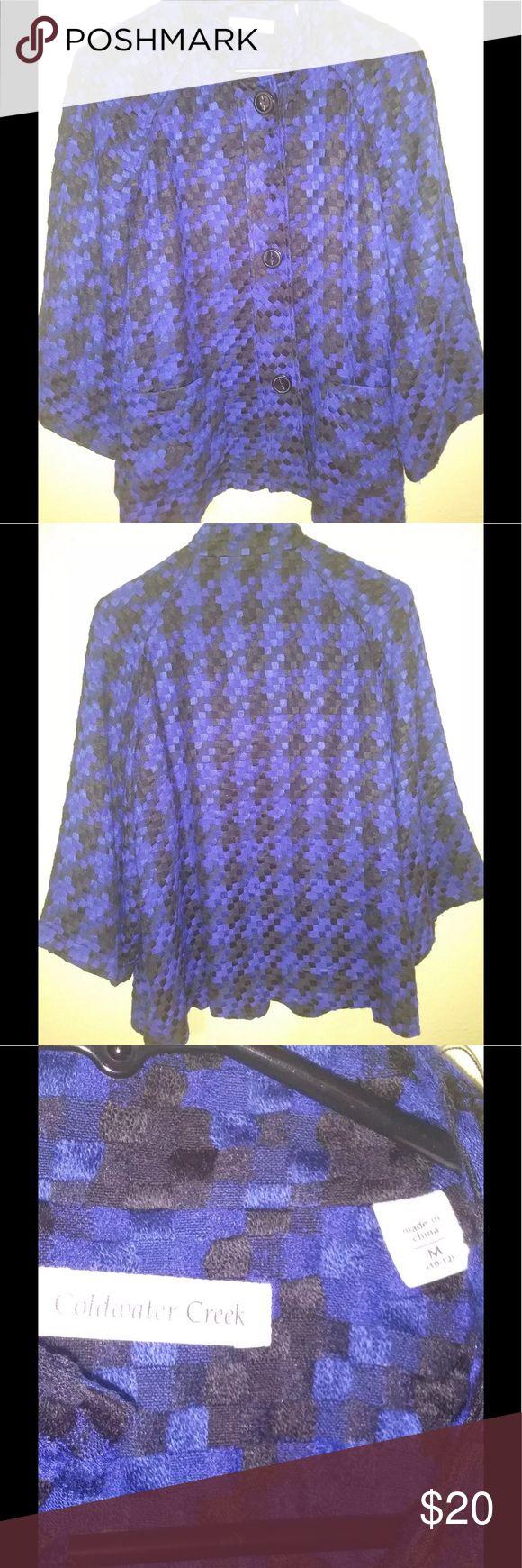 Coldwater Creek vintage blue houndstooth Blazer Coldwater Creek Blue and Black Vintage Houndstooth blazer size M Coldwater Creek Jackets & Coats Blazers