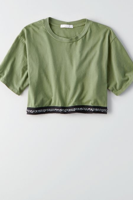 Don't Ask Why Chain Trim Crop T-Shirt