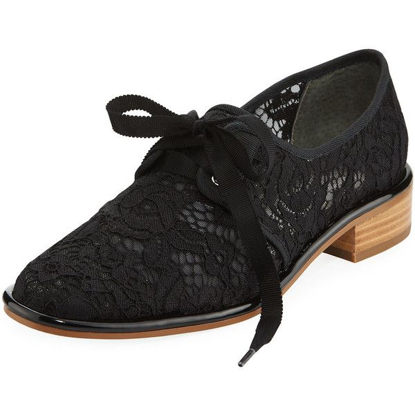 Adrianna Papell Paisley Lace-Covered Oxford (70 CAD) ❤ liked on Polyvore featuring shoes, oxfords, black, lace oxford shoes, black oxford shoes, black lace oxfords, lace shoes and black laced shoes