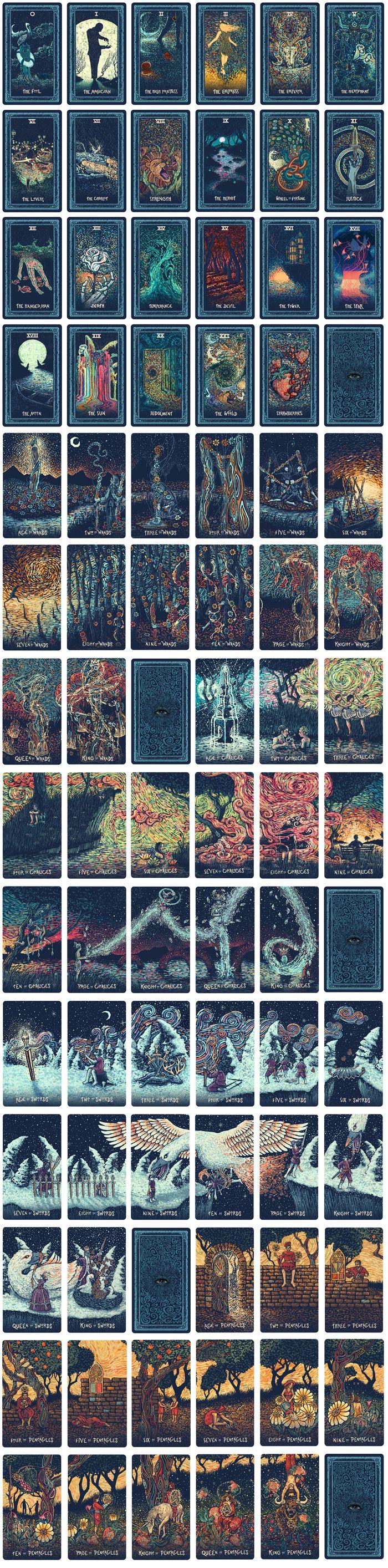 """As 79 cartas do """"Prisma Visions Tarot"""" do artista James R. Eads. (Se você olhar de perto, as cartas se interligam formando uma só imagem!)"""