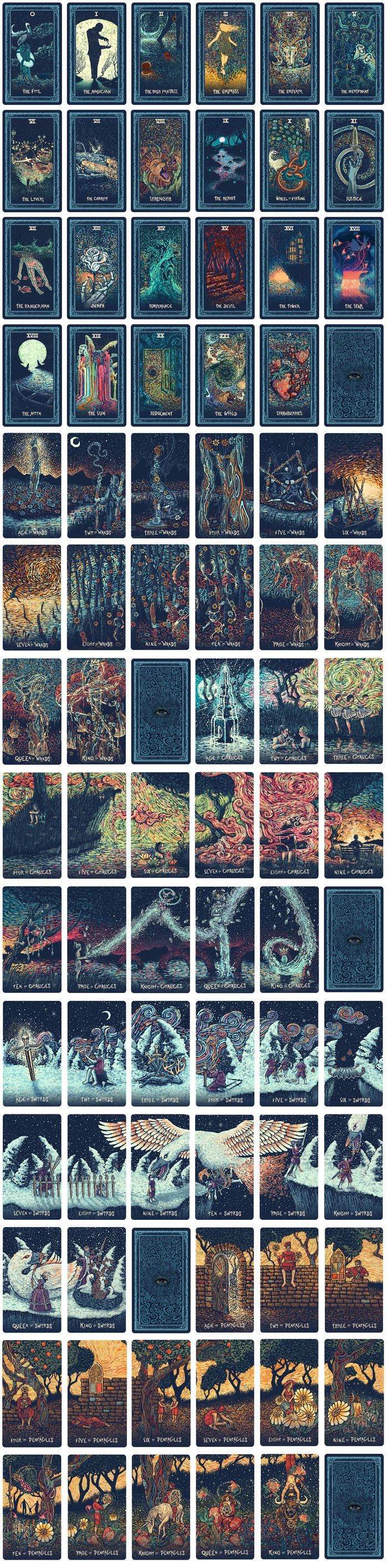 All 79 cards of the Prisma Visions Tarot. If you go to the link its easier to see, each set of swords, pentacles, chalices, and wands make a single picture when laid next to each other!
