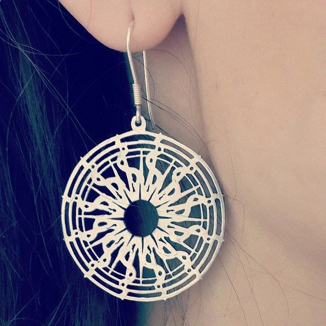 Adorable silver Earings Sun.Amorem. Sterling silver. Made in Russia.