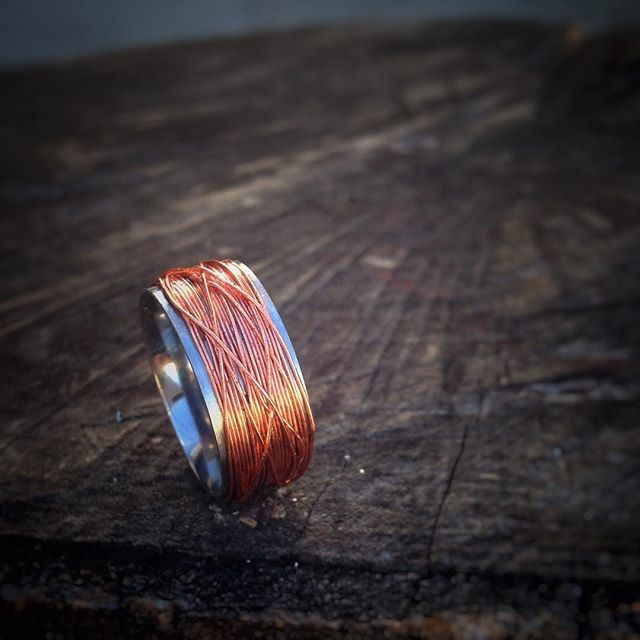 Playing with #copper today...I am experimenting with wrapped rings around a stainless steel core...might finish this off by embedding the copper in a bio-resin finish.  What do you think?  #design #ethicalfashion #sustainablefashion #ethicallymade #recycled #recycledjewelry #madeinnewzealand #tikikiwi #weddingring