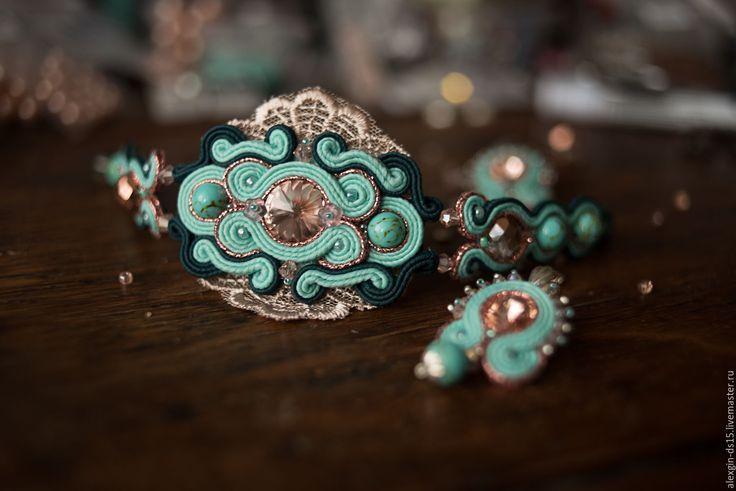 Купить Праздничный сутажный комплект - браслет, серьги, сутажный браслет, сутажные серьги, бирюзовый браслет