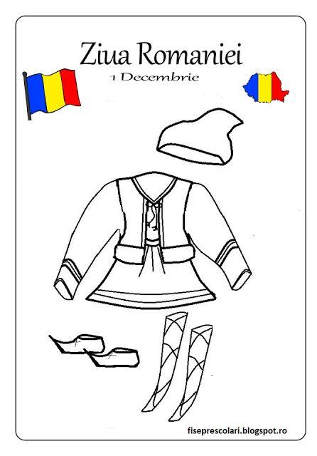 Planse de colorat si fise pentru copii: FISE de colorat pentru 1 Decembrie / Costume nationale de colorat / A4