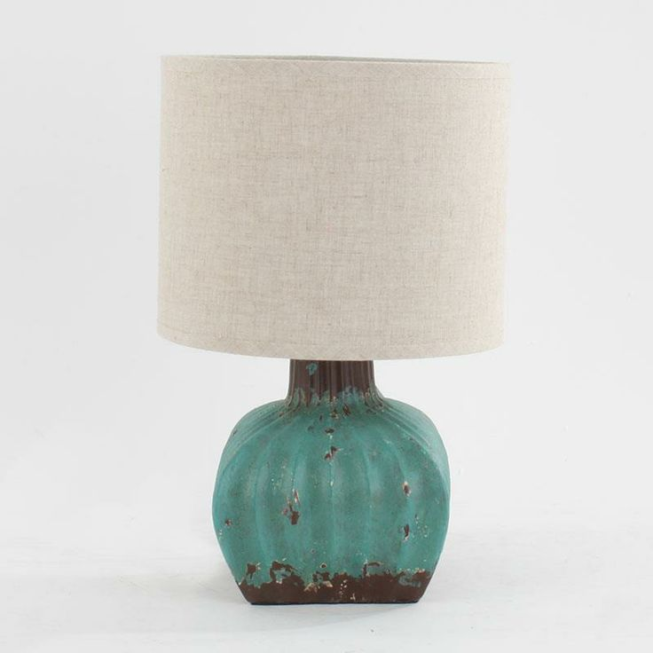 Ceramic table lamp in tyrqoise with fabric shade www.inart.com