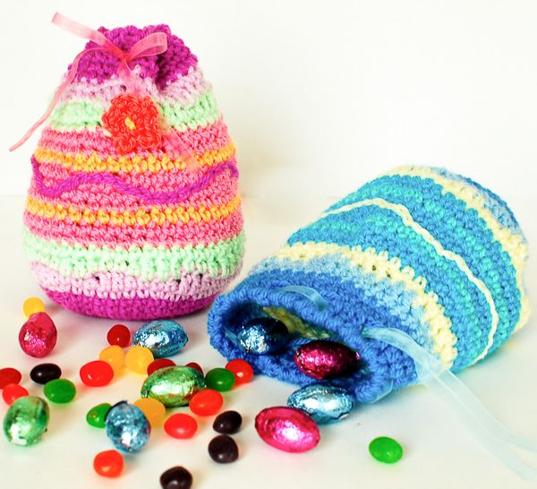 """Easter Egg Treat bag..thinkin' I'll put a """"money filled golden egg"""" in these for each of my grandkids. :)"""