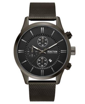 Kenneth Cole Reaction Men's Chronograph Sport Black Stainless Steel Mesh Bracelet Watch 46mm - Black