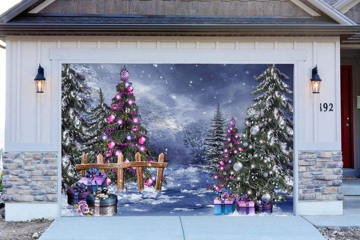 38 best christmas decorations for garage door images on for Outer decoration of house