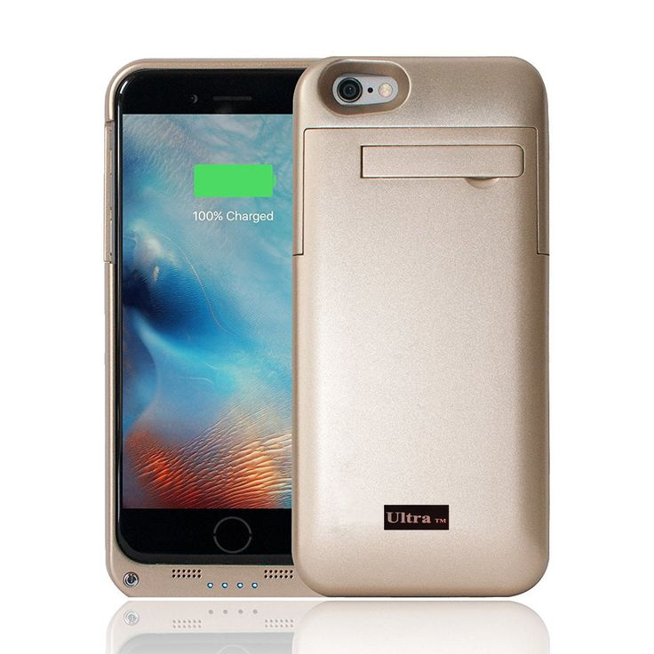 Gold coloured charger power case for iphone 7 and 7 plus mobile phones