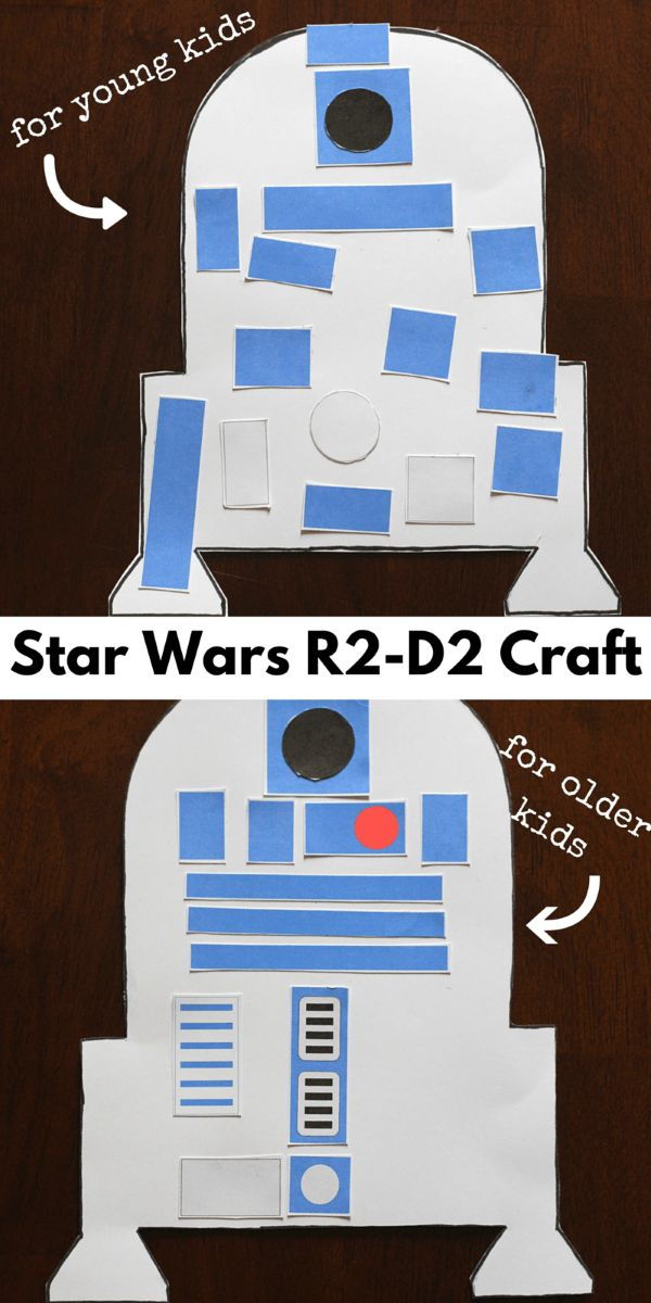Star Wars R2-D2 craft for kids. Two versions and printables included!