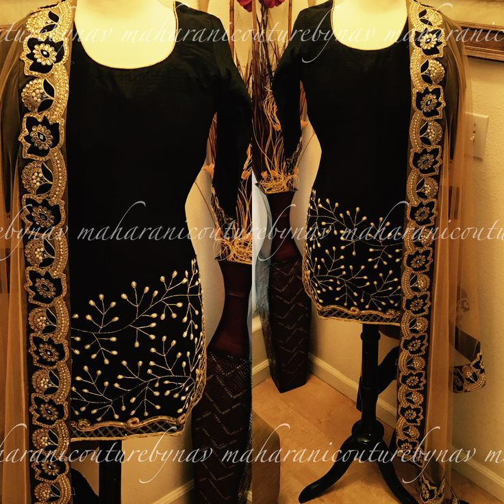 """""""Golden Koyel""""  Here comes my """"Golden Koyel"""" designed by me. Embellished with pearls and wire embroidery , net duppata with full patiala golden salwar ❤  For inquiry email at maharanibq@gmail.com or DM  #sardarni#blacksuit"""