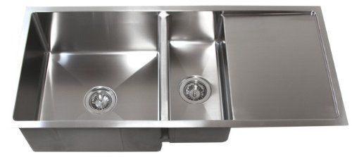 42 Inch Stainless Steel Undermount Double Bowl Kitchen Sink with Drain Board - - Amazon.com