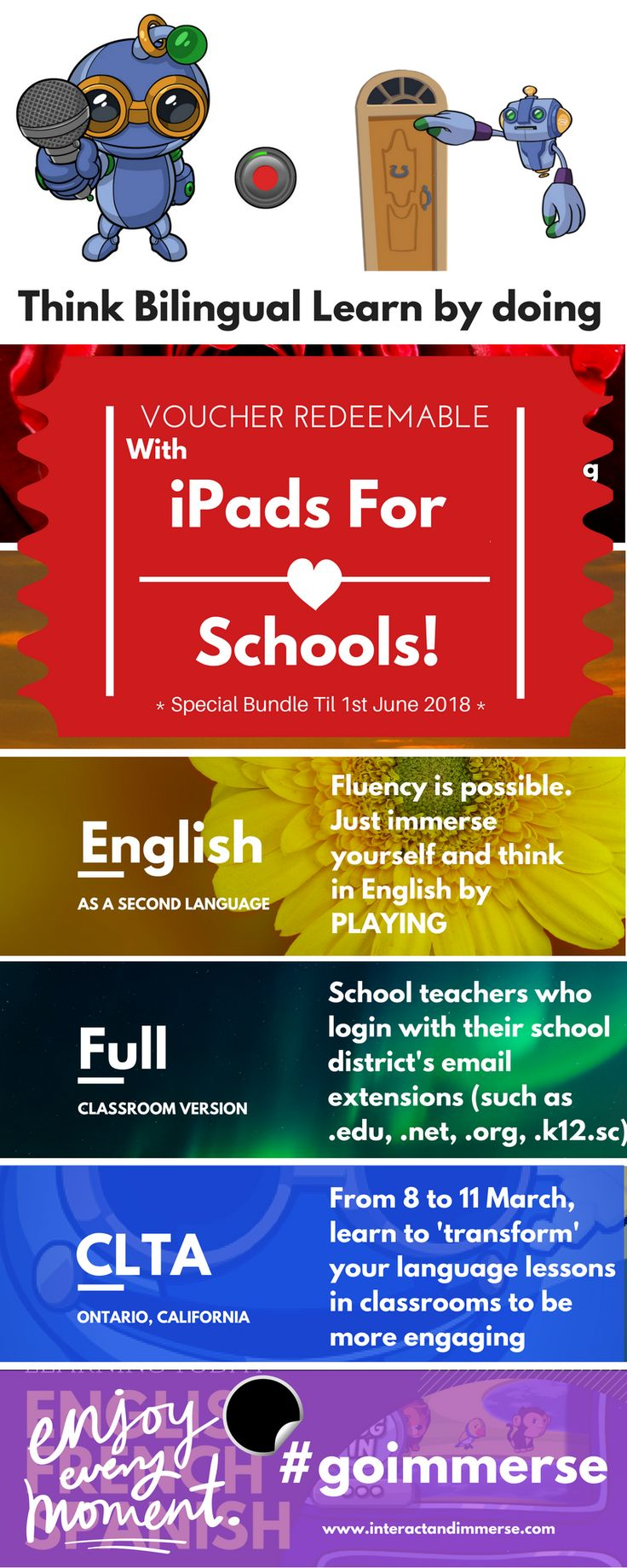 Are you ready to change the way your students learn languages? Immersion is the answer-- Think Bilingual is the method. #teacher #english #french #spanish #esl #duallanguage #clta2018 #edtech #language #ipad #schools #classroom #teacherproblems