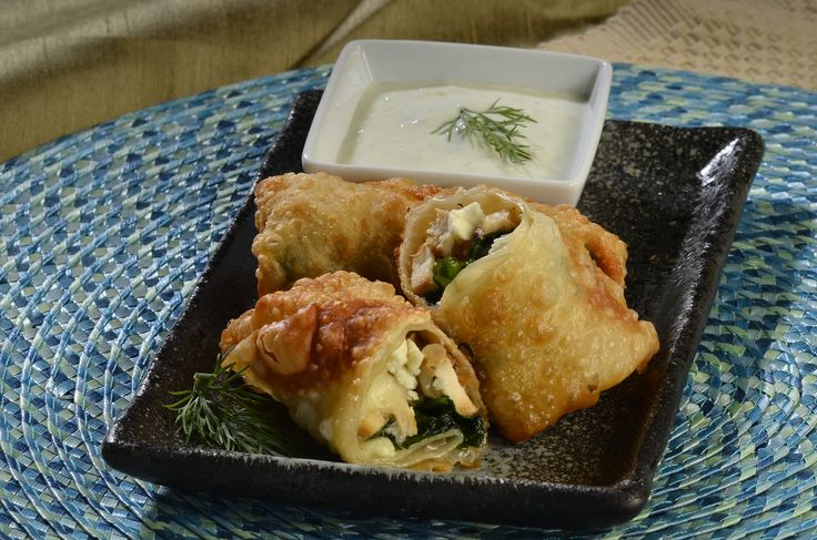 Greek Chicken Egg Rolls with Tzatziki Sauce - Castella Imports