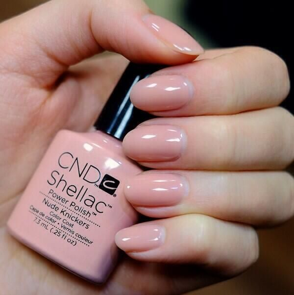 CND Shellac Nude Knickers A semi-sheer colour with a peachy pink ...