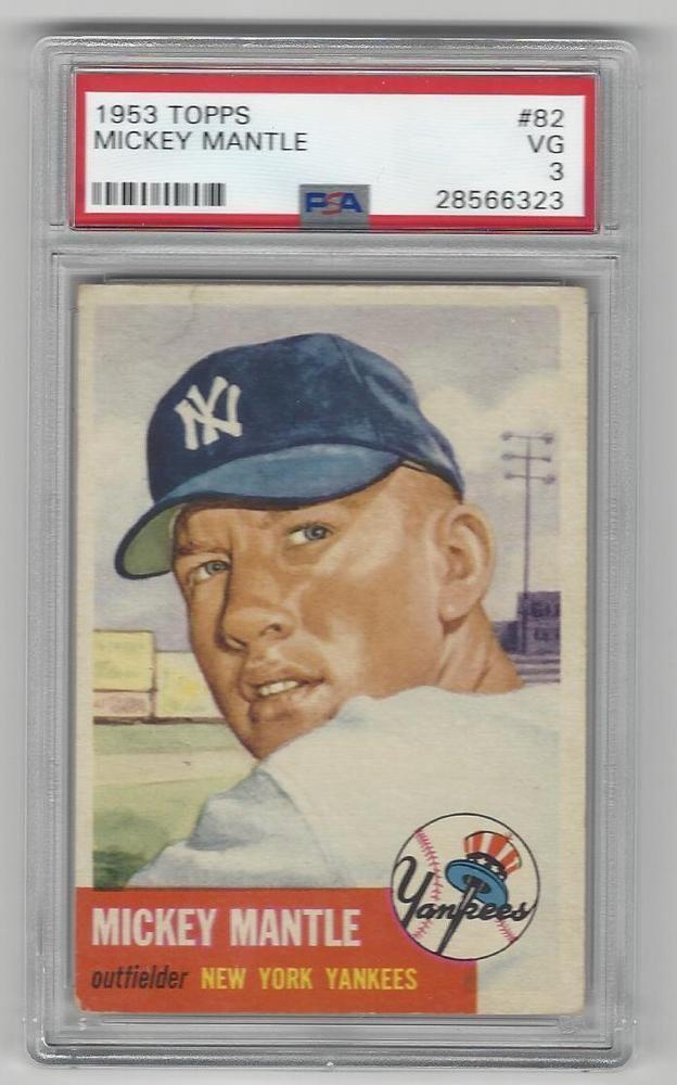 1953 Topps Baseball Card 82 Mickey Mantle Psa Graded 3 New York
