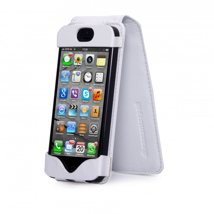 Smooth white leather flip case for iPhone 5 by dbramante1928. Price: $50. More information: www.dbramante1928.com.