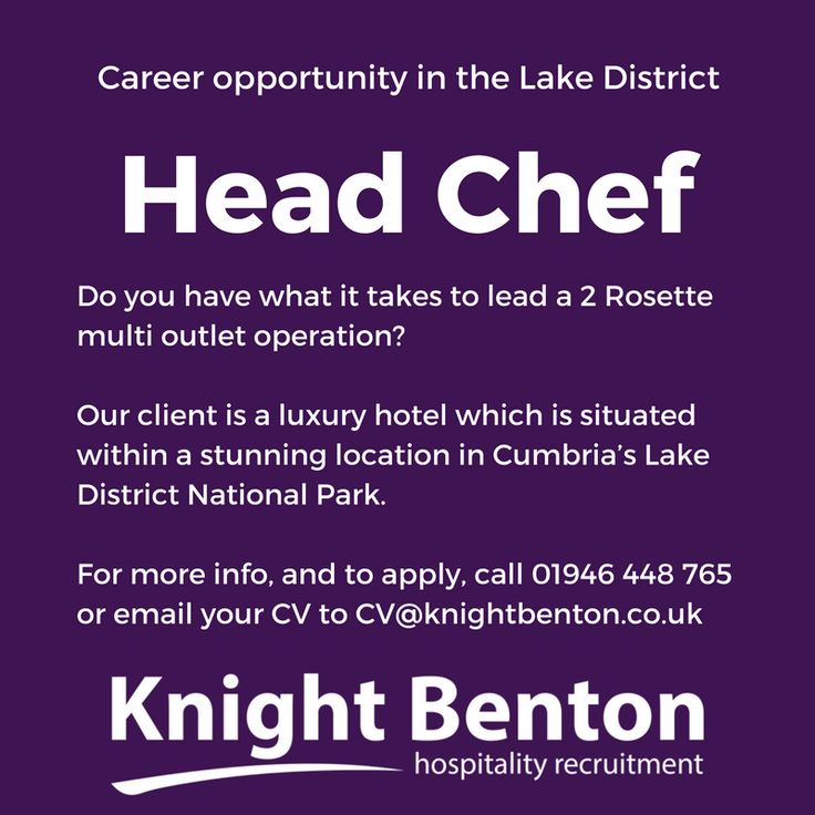 Head Chef - 2 Rosettes - £35k + Bonus http://www.cumbriacrack.com/wp-content/uploads/2017/03/Head-Chef.png Our client is a luxury hotel which is situated within a stunning location in Cumbria's Lake District National Park. This position has come about due to the promotion of the current Head Chef.    http://www.cumbriacrack.com/2017/03/11/head-chef-2-rosettes-35k-bonus/