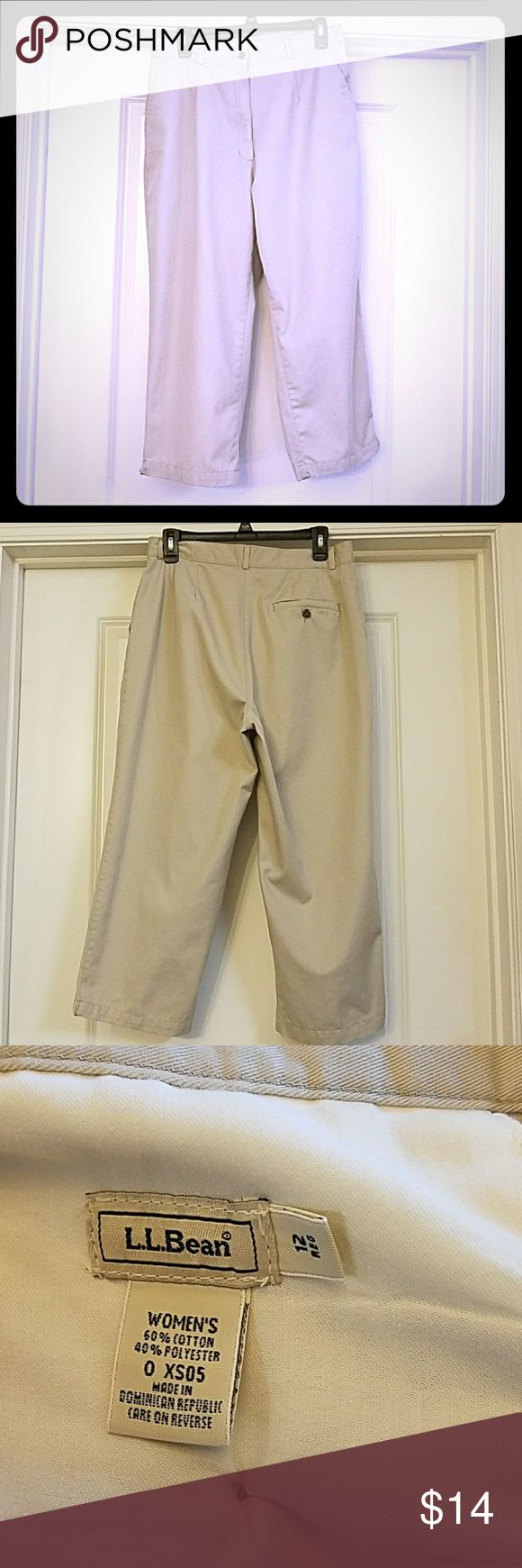 L.L Bean Khaki Capri Pants L.L Bean Khaki Capri Pants features two front pockets and one Pocket in the back. Laying flat it measures 16 inches across the waist. The length of the Capri Pants is a 23 inches L.L. Bean Pants Capris