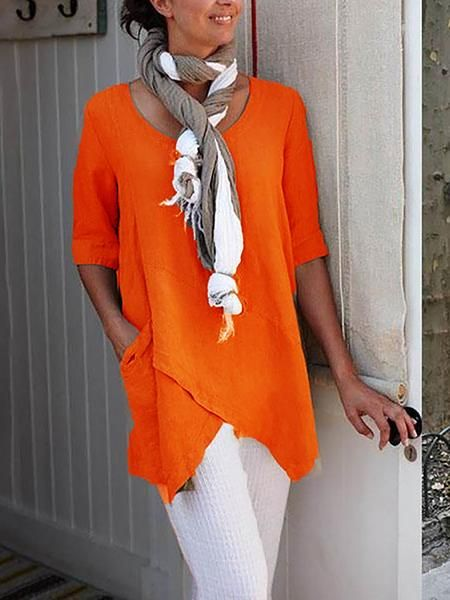 Women Blouse Plus Size Half Sleeve Irregular Asymmetrical Hem Shirt