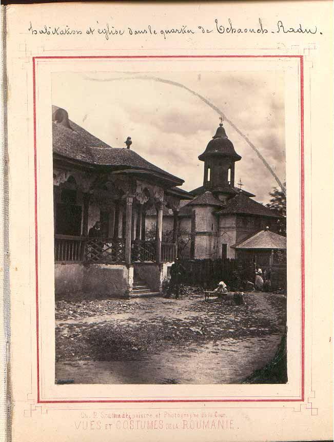 Carol Popp de Szathmari, Souvenir de la Roumanie dedié a son A.S. Helene (1863): Habitation et église dans le quartier de Tchaouch Radu (Casă și biserică în mahalaua Ceauș Radu). BAR AF I 87, nr. 66267-66321. | indexat.