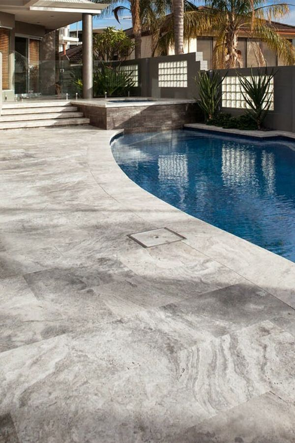 Stunning silver travertine pool coping and pool tiles. 100 ...
