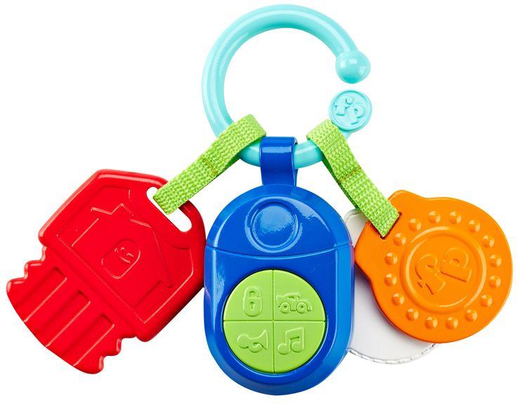 De Fisher-Price Muzikale Klik-Klak Sleutels zijn drie sleuteltjes in vrolijke kleuren aan een makkelijk te bevestigen ring. Met een bijtsleuteltje, klik-klak geluidjes, verschillende materialen en een sleutelhanger met grappige geluidjes en muziek. Je kunt de activity-sleuteltjes gemakkelijk aan het wandelwagentje of de luiertas bevestigen. Leuk voor thuis en onderweg! • Spelen maar! Druk op de elektronische sleutelhanger en je hoort realistische geluidjes en vrolijke muziek• Bijtsleuteltje•…
