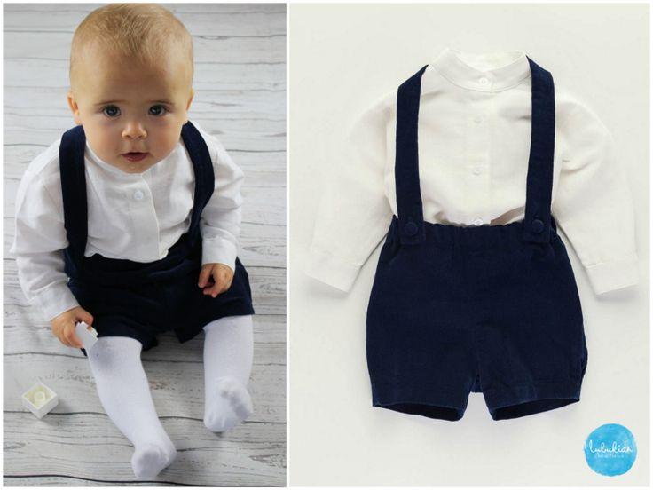 Taufbekleidung – 2tlg Taufe Junge blaue Hose aus Cord + Leinenhemd – ein Designerstück von lubukidz bei DaWanda