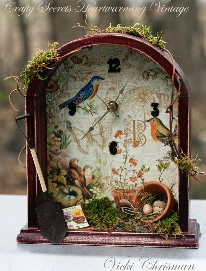 Altered Clock by Vicki Chrisman using Bird and Blossom Scraps (now a 4 Pg digital download). The best thing about digital is the versatility - Vicki printed one of the pages on watercolor paper but she also wanted to use the pansy seed packet except it was too big and whiter than she wanted - so she just reduced the size, cropped it and printed it on cream paper. You can see other tips and links to Crafty Secrets May DT Challenge and Linky Party .