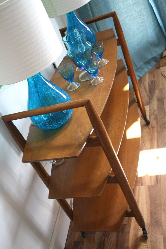 Rolling Mid Century Modern Bar Cart Server Tea by theTurquoiseIris, $325.00