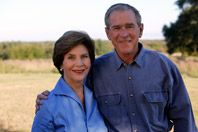 President George W. Bush and Mrs. Laura Bush pose for a photo, October 29, 2009, at Prairie Chapel Ranch in Crawford, Texas.   Courtesy George W. Bush Foundation.