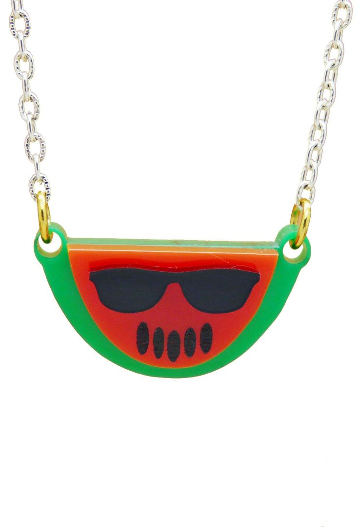 Bright Pop of colour Fun funky Fruit Charm Necklace Made with Perspex Choose from a Bunch of Fun Fruit charms Strawberry orange lemon lime Apple and watermelon Comes on a Silver plated or Sterling silver Chain Chain length Approximately 16-18 inches Each charm size: (Approximately) 1 inch by 1 inch