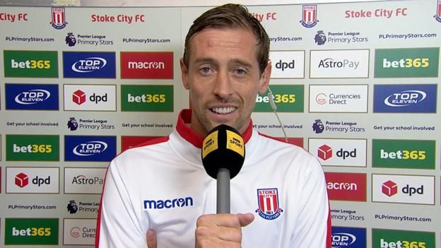 "Stoke City striker Peter Crouch tells Gary Lineker he is ""very pleased"" to score the winner against Southampton, and jokes about possibly being recalled for the England national team. MATCH REPORT: Stoke 2-1 Southampton Watch all Saturday's Premier League goals on Match of the..."
