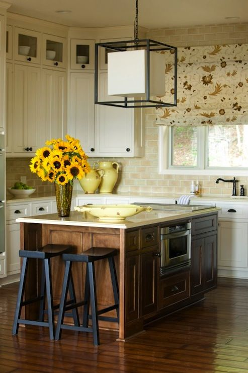 Brown Kitchen Island, Traditional, Kitchen, Sherwin Williams Antique White, Tobi Fairley