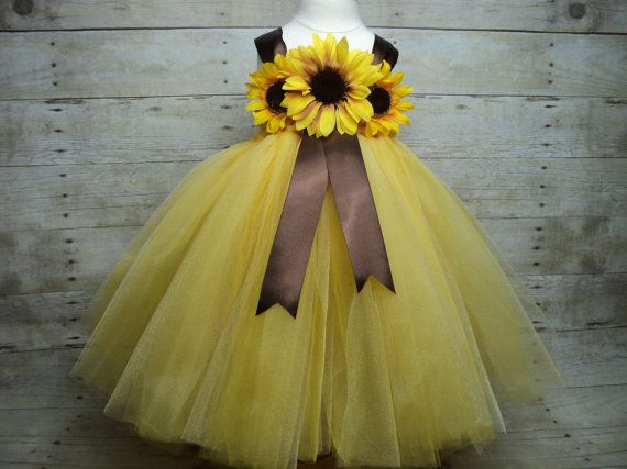 Yellow brown sunflower tutu dress & headband ready by floralfolly