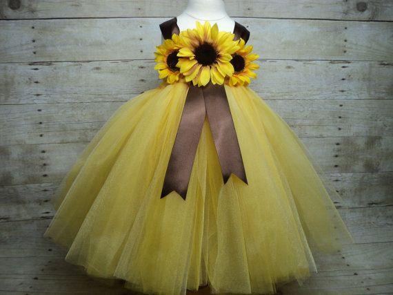 Yellow brown sunflower tutu dress & headband - maybe incorporate sunflowers into dress?
