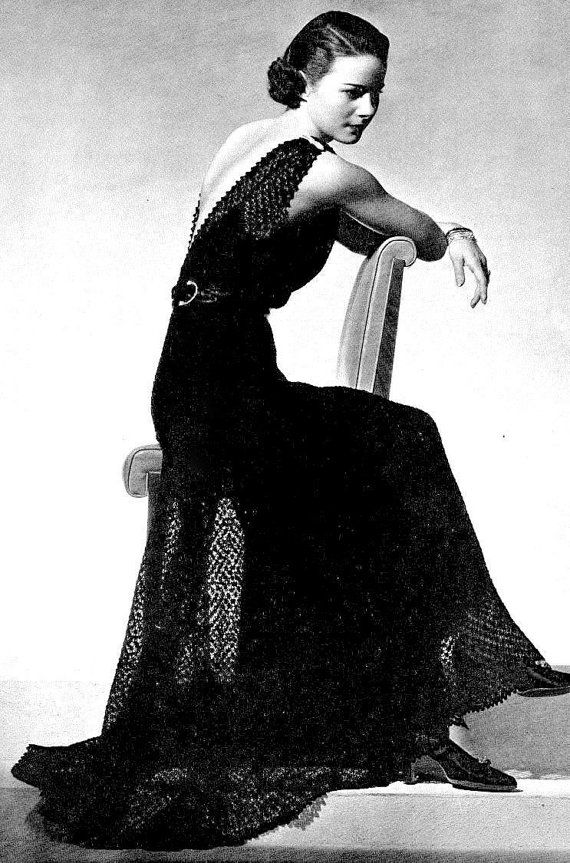 INSTANT DOWNLOAD PDF KNITTING PATTERN for a Lacy Evening or Wedding Dress and CROCHET PATTERN for a Wrap Jacket This vintage 1930s US knitting and crochet pattern for a stunning evening dress or wedding gown and matching jacket has been digitally cleaned and enlarged for ease of use Could this be any more glamorous? Fitted dress with a deep V back and a gored skirt. Pretty delicate lace pattern. A co-ordinating jacket makes the outfit even more wearable. Adorned to perfection with satin…