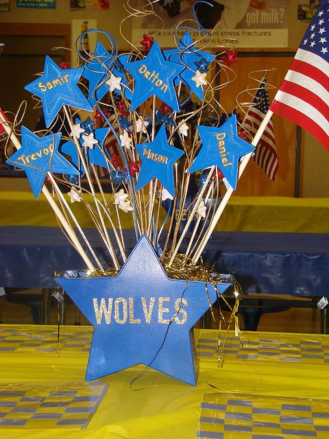 blue and gold centerpiece - would be easy for boys to do their names and glue star to stick.