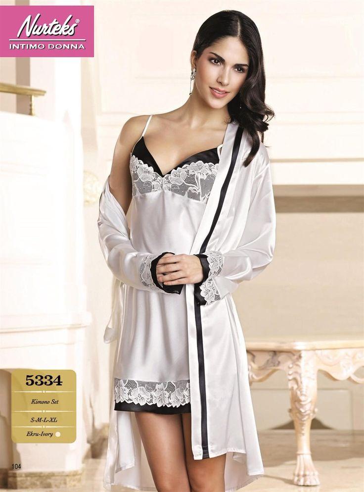 Nurteks İç Giyim, Saten Gecelik Sabahlık Takımı 5334    #SatenGecelik & #Sabahlık Modelleri http://www.camasirim.com/c/saten-gecelik-4