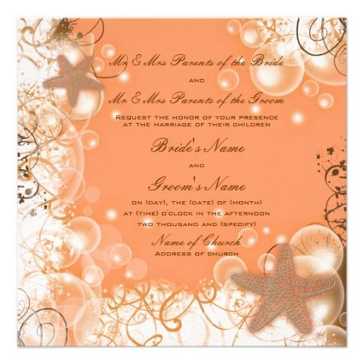 Beach wedding theme ~ elegant party custom personalized invitation