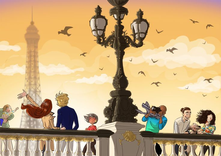#illustration #picture #colorful #color #blog #lupeGranite #yellow #orange #sunset #bridge #paris #birds #draw #characters #eiffelTower #clouds #life